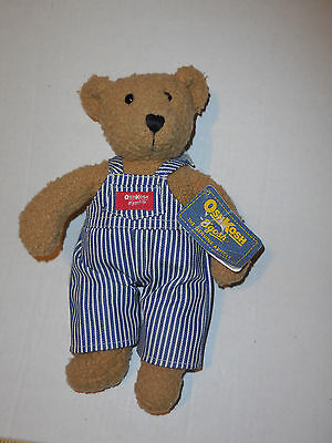 "EDEN OSH KOSH B'gosh 11"" TEDDY BEAR in OVERALLS  Vintage Baby Stuffed Plush NWT"