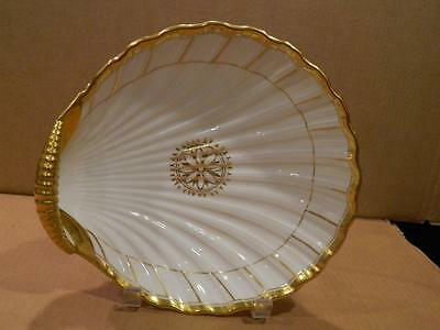 Clam Shell Shaped Porcelain Serving Bowl Gold Ribbed Handle & Trim Vintage [b]