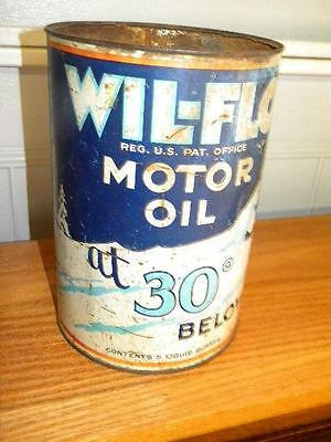 Old Ace High Wil-Flo 5 Quart Motor Oil Can Minnesota HTF w/ Auto Winter Scene