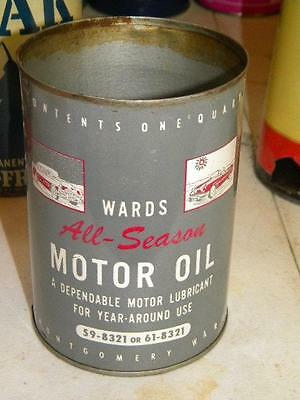 Old Ward's All Season Motor Oil w/ Car Graphics One Quart Empty w/ Graphics