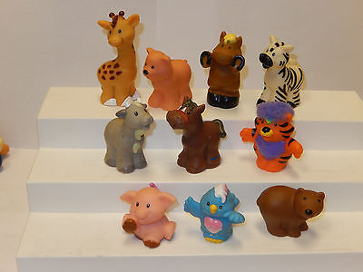 Fisher Price Little People Animal Lot of 10 Figures Ark Zoo Farm Jungle Wild Pet