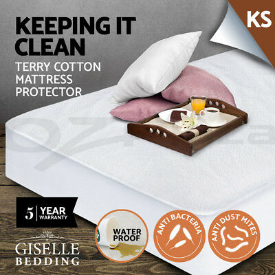 Giselle Bedding Fully Fitted Waterproof Mattress Protector Terry Cotton Cover KS