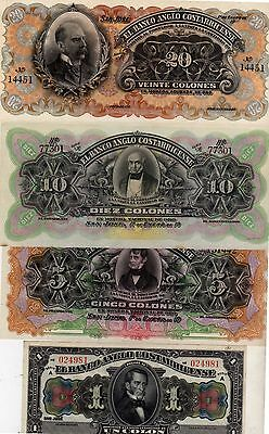 Costa Rica Remainder Banco Anglo Costarricense set 20+10+5+1 colones 4 banknotes