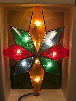 New Christmas Christmas 10 Light Multi-Colored Stained Glass Look Tree Topper
