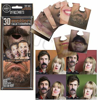 3D MOTION FACE MATS 20 x DOUBLE-SIDED DRINK COASTERS NOSE PARTY JOKE PRANK GAME