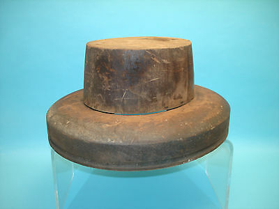 Old Two Piece Wooden Hat Block or Form Millinery Haberdashery Equipment