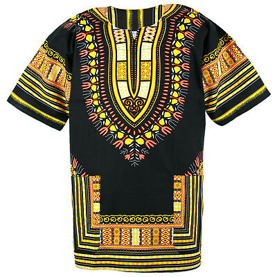 Cotton African Dashiki Mexican Poncho Hippie Tribal Boho Shirt Black ad14y