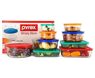 Pyrex 18-Piece Simply Store Glass Container Set w/ Multi Coloured Lids - Multi