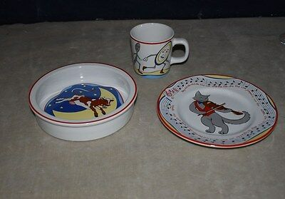 Tiffany & Co. 3 Pc Child's Place Setting - Cup, Plate, Bowl - Hey Diddle Diddle