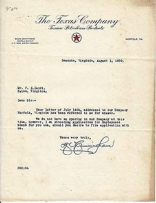 Pair of letters from TEXACO Oil Company regarding employment during depression