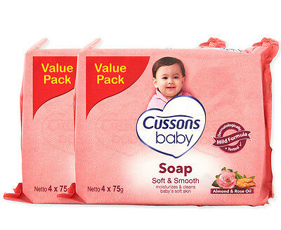 2 x Cussons Baby Soap Almond & Rose Oil 4pk