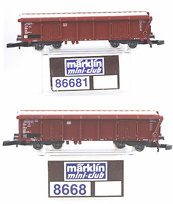 2 Marklin Z Gauge 4 Axle Covered Hopper Cars, #8668 & #86681, Both New in Box