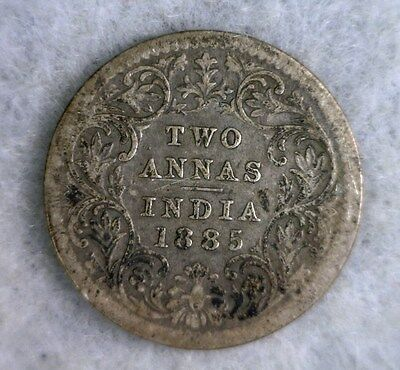 BRITISH INDIA 2 ANNAS 1885  FINE SILVER COIN (stock# 0399 )