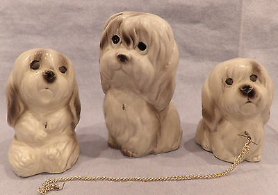 Vintage Japan Sheepdog Family Figurines, Mama Dog & Puppies on Chains