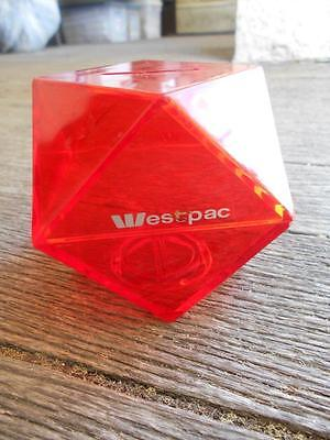 C1980's Westpac Bank money box savings bank red 14 sided cube Polygon