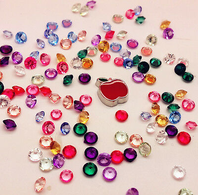 100PCS Mix Floating Charm Heart For Stainless Gems Living Memory Locket PPB56