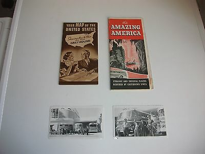 AMERICAN GREYHOUND BUS BROCHURES ROUTE MAPS 1940's/50's & TWO B&W BUS PHOTOS (4)