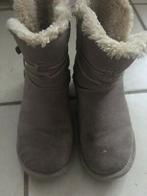 Girls Beige Suede Fur Lined Winter Boots Size Euro 34 Uk 1-2