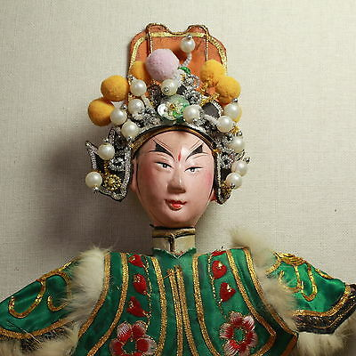 Old Antique Chinese Qing Dynasty Silk Embroidered Opera Doll Puppet/ Od002