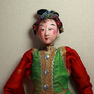 Old Antique Chinese Qing Dynasty Silk Embroidered Opera Doll Puppet/ Od003