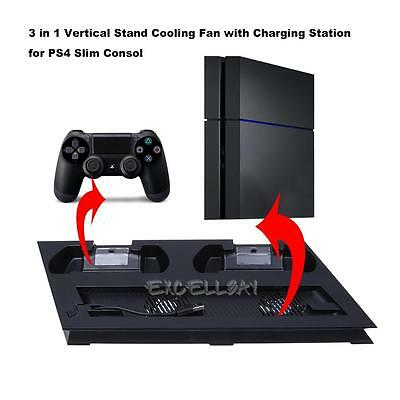 For PS4 Slim Vertical Stand Cooling Station Fan Controller Charging Dock USB Hub