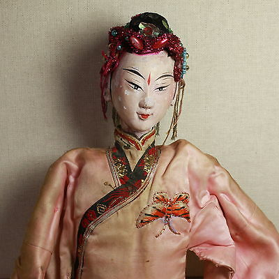 Old Antique Chinese Qing Dynasty Silk Embroidered Opera Doll Puppet/ Od004