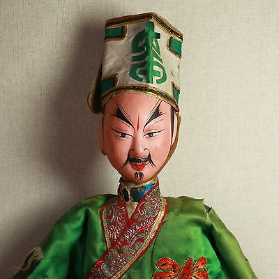 Old Antique Chinese Qing Dynasty Silk Embroidered Opera Doll Puppet/ Od005