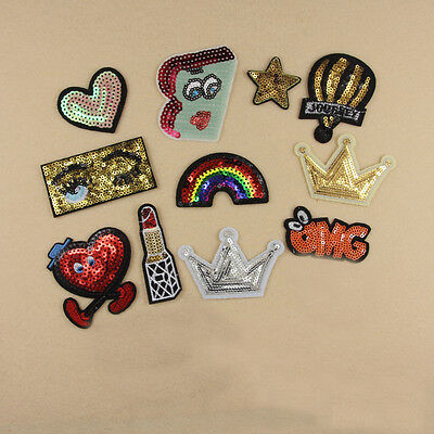 Embroidered Iron Sew on Patch Badge Crown Eyes Star Sequin Shape Dress Applique