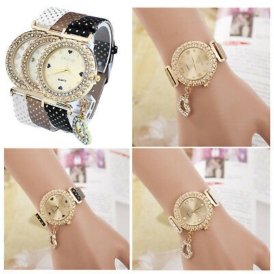 Fashion Women Crystal Wrist Watch Bracelet Bangle Leather Dial Quartz Analog UK