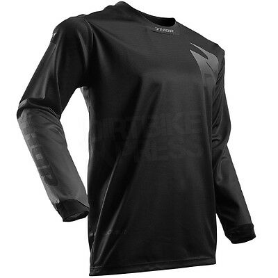 "New 2017 Thor Motocross Enduro Pulse Jersey Black Out Large 44"" Chest"