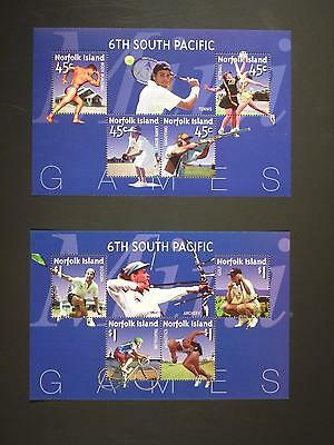 NORFOLK ISLAND - 2002 6th SOUTH PACIFIC GAMES PAIR OF UNISSUED SHEETS MNH