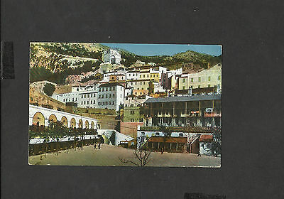 Vintage Colour Postcard View of Casemates Square Gibraltar posted 1914