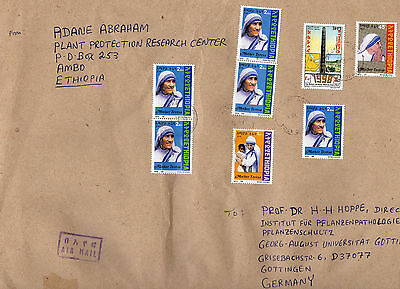 Geschäftsbrief AMBO ETHIOPIA 1999 mit 7 Stamps Mother Teresa Mutter Theresa MiF