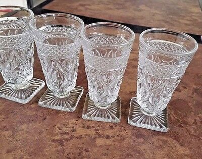 Set of 4 Imperial Glass Cape Cod Clear Juice Glasses Elegant Footed