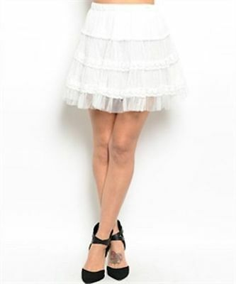 Tiered Mini skirt lace net short ladies skirts clothes clothing IVORY