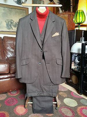 Vtg 1973 Slim Fit Wool 3 Piece Pin Stripe Suit.Mod Hardy Amies,Hepworth's.Small.