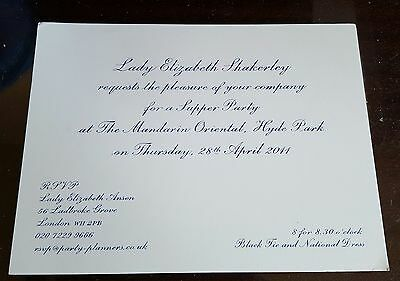 Prince William Wedding to Kate Middleton Supper Party Invitation