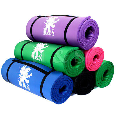 15mm Thick Yoga Exercise Fitness Gym Mat Pilates Camping Non Slip Strap Carrier