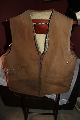 Vintage Men's Carhartt Sherpa Lined Duck Canvas Hunting Work Vest Size Large