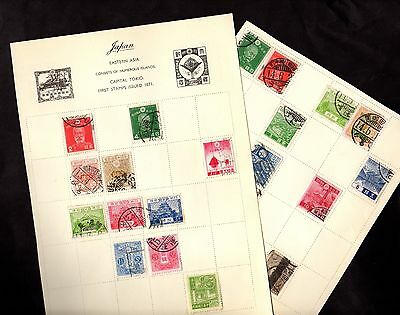 Stamps ~ JAPAN Japanese ~ CLASSIC Issues UNSORTED Four Scans FOUR PAGES