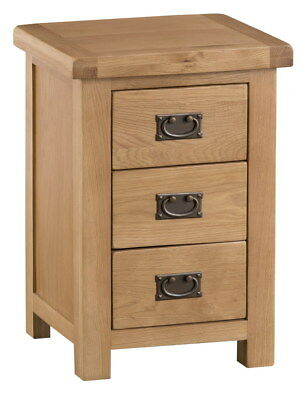 Oak Large 3 Drawer Bedside Cabinet | Chunky Wooden Side End Lamp Nightstand