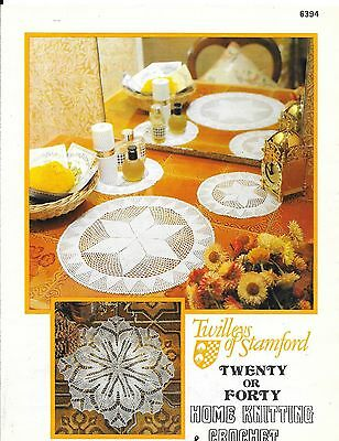 Twilley Pattern 6394 Crochet Duchess Set and Knitted Centre