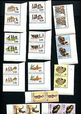 ZIMBABWE NATIONAL GALLERY art 1988 + RURAL LIFE 1987  in pairs  MNH