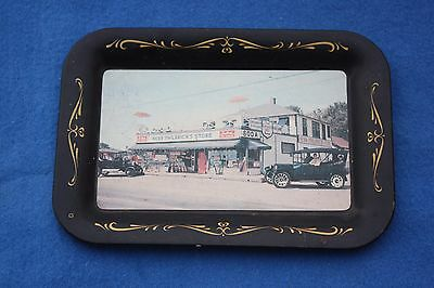 Unusual 1940s Herb Philbrick's Store Rye Beach New Hampshire METAL TRAY Postcard