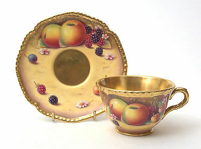 Royal Worcester Gadrooned Cup & Saucer With Hand Painted Fruit Study by P.Platt