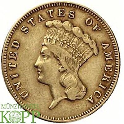G23) USA 3 DOLLAR 1874  Indian Princess Head GOLD