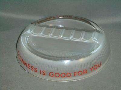 Vintage Glass Ashtray - Guinness - Clear Glass with Frosted Underside
