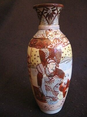 "ANTIQUE HAND-PAINTED JAPANESE SATSUMA MERCHANT 7.25"" VASE c.1900's EX"