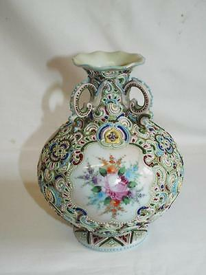 Large antique Noritake Moriage vase with painted floral panels.
