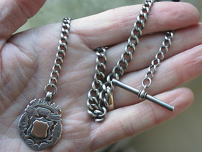 Sterling Silver Antique Albert Chain with Fob Medal.
